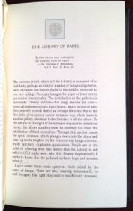"""""""The Library of Babel,"""" in Ficciones by The Franklin Library."""