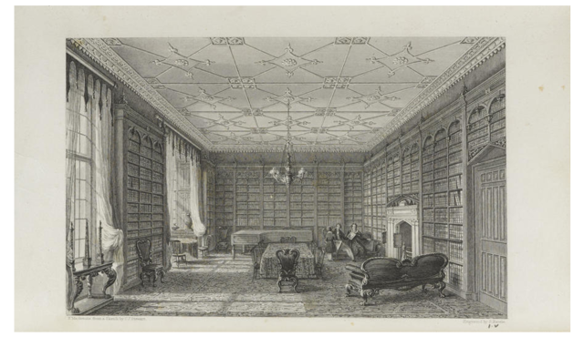 Eshton Hall Library from STEWART, C.J. A Catalogue of the Library Collected by Miss Richardson Currer, at Eshton Hall, Craven, Yorkshire. London: Privately printed, 1833. Image via Wikimedia Commons.