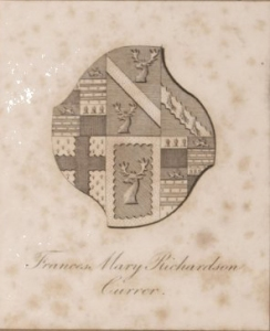Armorial bookplate of Frances Mary Richardson Currer. Image courtesy of the Folger Shakespeare Library.