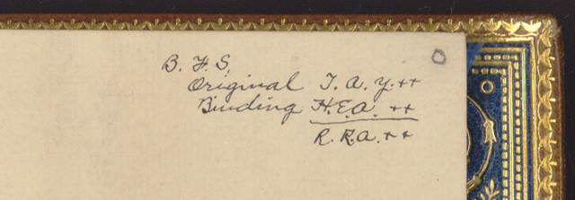 Abby Pope's price cipher in the back of Champlain's Voyages. Courtesy of the Library of Congress.
